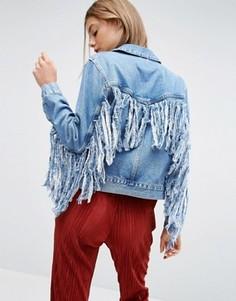 Синяя джинсовая куртка с бахромой сзади ASOS - Синий