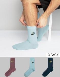 3 пары вафельных носков с вышивкой ASOS - Мульти