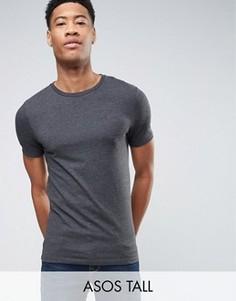 Темно-серая меланжевая обтягивающая футболка ASOS TALL - Серый
