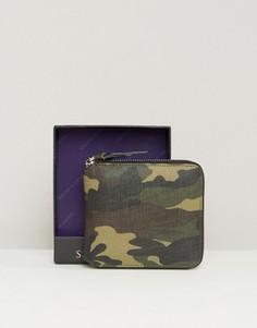 Круглый камуфляжный кожаный кошелек на молнии Smith And Canova - Зеленый