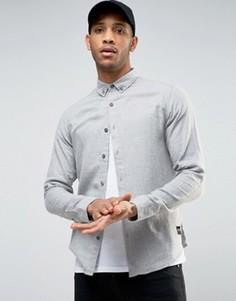 Узкая рубашка из хлопковой ткани с начесом Only & Sons - Зеленый