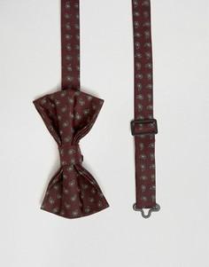 Бордовый галстук с принтом пейсли ASOS - Красный