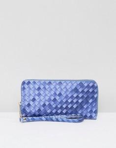 Плетеный кошелек на молнии Yoki - Синий