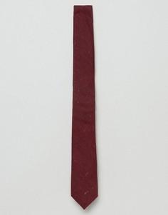 Бордовый узкий галстук в цветную крапинку ASOS - Красный