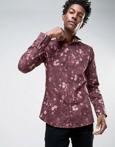 Зауженная рубашка с цветочным принтом Noose & Monkey - Красный