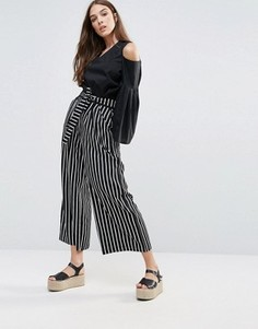 Широкие брюки в полоску с завязкой Liquorish - Мульти