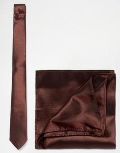 Галстук и платок для нагрудного кармана ASOS - Коричневый
