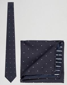 Фактурный галстук в горошек и платок для нагрудного кармана ASOS - Темно-синий