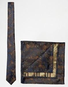 Темно-синие галстук и платок для нагрудного кармана с цветочным принтом ASOS - Темно-синий
