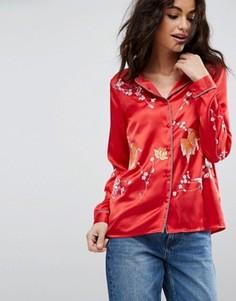 Атласная пижамная блузка с вышивкой ASOS Premium - Красный