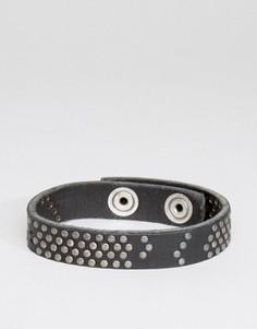 Черный кожаный браслет Diesel A-Studdler - Черный