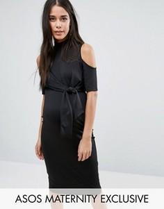 Платье миди с вырезами на плечах и завязкой сбоку ASOS Maternity - Черный
