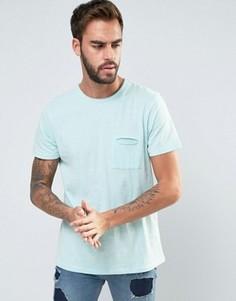 Меланжевая футболка с необработанными краями и карманом Another Influence - Синий