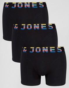Набор из 3 боксеров-брифов с контрастным поясом Jack & Jones - Черный