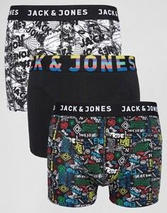 Набор из 3 боксеров-брифов с принтом Jack & Jones - Черный
