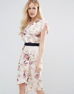 Платье с запахом и цветочным принтом Closet - Мульти