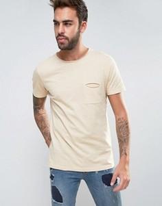 Меланжевая футболка с необработанными краями и карманом Another Influence - Бежевый