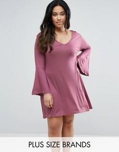 Свободное платье с расклешенными рукавами Pink Clove - Розовый