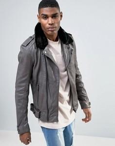 Байкерская кожаная куртка с воротником из овечьей шерсти Avior - Серый