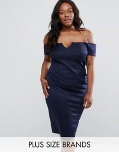 Платье размера плюс с вырезом лодочкой Club L Office - Темно-синий