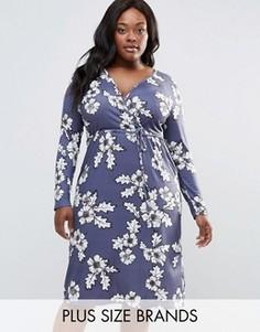 Платье миди с запахом спереди Club L Plus - Серый