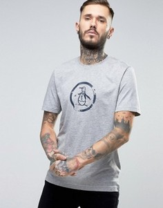 Серая меланжевая узкая футболка с большим логотипом Original Penguin - Серый