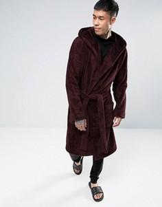 Бордовый флисовый халат с капюшоном ASOS - Красный