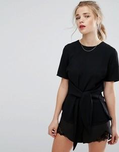 Топ свободного покроя с завязкой спереди New Look - Черный