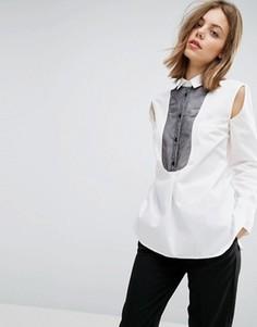 Рубашка с нагрудной вставкой из органзы и разрезами по бокам ASOS WHITE - Белый