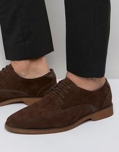 Коричневые туфли из искусственной замши на шнуровке ASOS - Коричневый