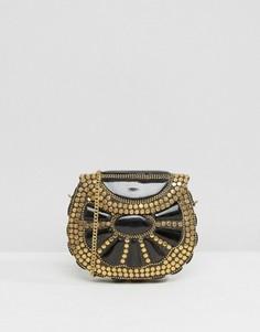 Черная эмалированная сумка через плечо с золотистыми заклепками Park Lane - Черный