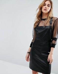 Платье-сарафан из искусственной кожи Noisy May - Черный