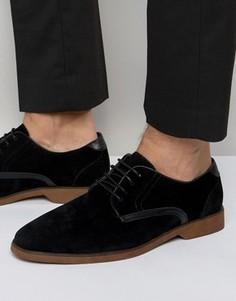 Черные туфли из искусственной замши на шнуровке с контрастной отделкой ASOS - Черный
