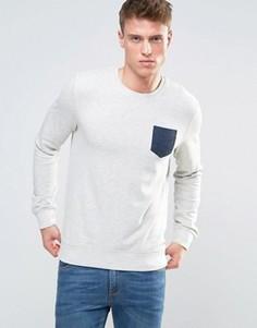 Свитшот из меланжевого трикотажа с контрастным карманом Esprit - Белый