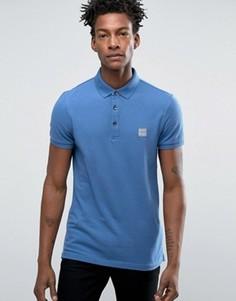 Узкая футболка-поло с логотипом BOSS Orange by Hugo Boss - Синий