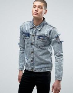 Джинсовая куртка с потертостями Brave Soul - Синий