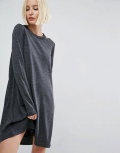 Вязаное платье с вырезами у горловины ASOS - Серый