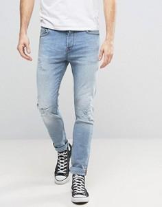 Голубые выбеленные узкие джинсы стретч с потертостями Only & Sons - Синий