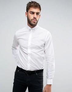 Рубашка скинни в серебристый горошек и с планкой на воротнике Noose & Monkey - Белый