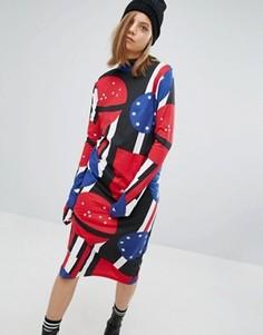 Платье с высоким воротом и принтом Cheap Monday - Синий