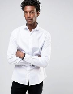 Строгая рубашка скинни с отделкой на воротнике Noose & Monkey - Белый