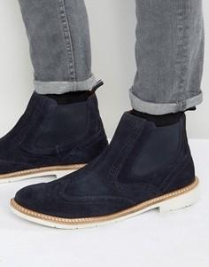 Замшевые ботинки с перфорацией в стиле броги Tommy Hilfiger Metro - Темно-синий
