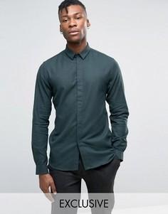 Облегающая саржевая рубашка Heart & Dagger - Зеленый