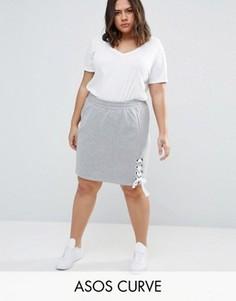 Трикотажная юбка со шнуровкой ASOS CURVE - Серый