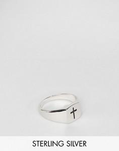 Серебряное кольцо-печатка с крестом Serge De Nimes - Серебряный