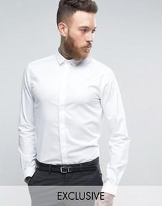 Однотонная жаккардовая рубашка скинни Heart & Dagger - Белый