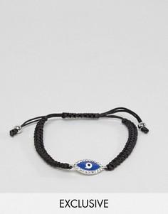 Черный плетеный браслет с подвеской в виде глаза DesignB - Черный