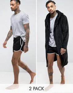 Флисовый халат и шорты (набор из 2 шт.) ASOS - СКИДКА - Мульти