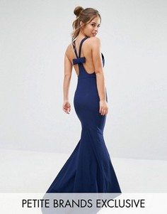 Платье-халтер макси с бантиком сзади Jarlo Petite - Темно-синий