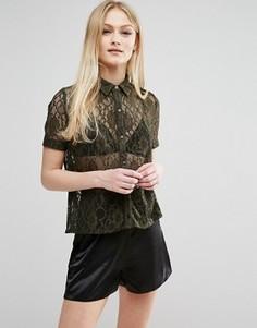 Кружевная рубашка с короткими рукавами Hedonia - Зеленый